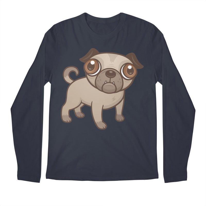 Pug Puppy Cartoon Men's Longsleeve T-Shirt by Fizzgig's Artist Shop