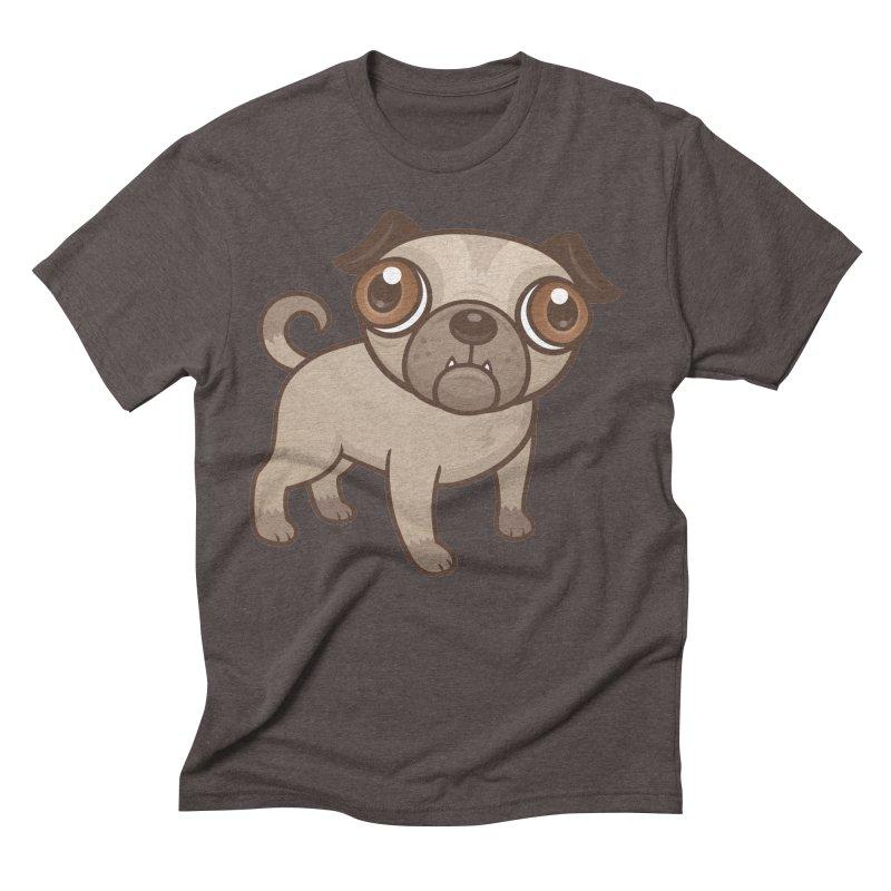 Pug Puppy Cartoon Men's Triblend T-Shirt by Fizzgig's Artist Shop