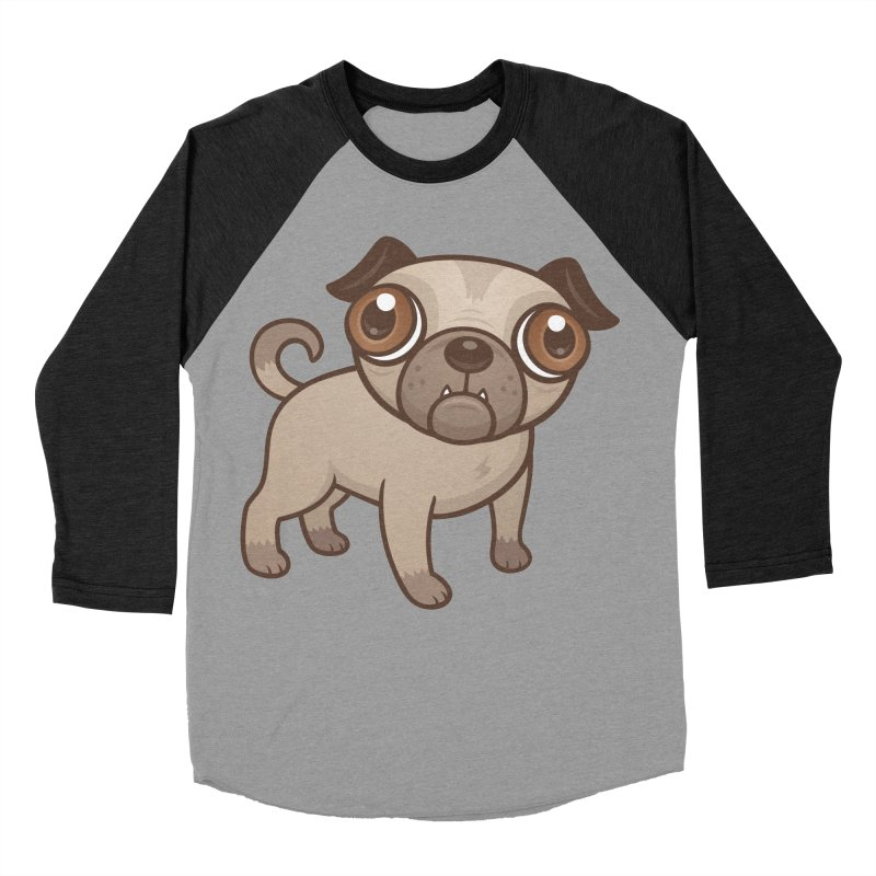 Pug Puppy Cartoon Women's Baseball Triblend T-Shirt by Fizzgig's Artist Shop