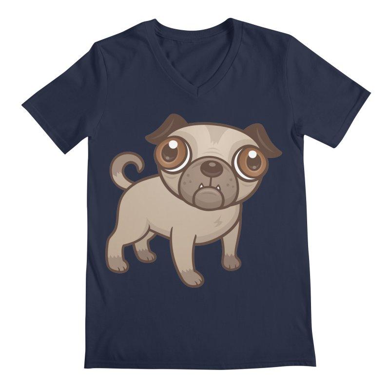 Pug Puppy Cartoon Men's V-Neck by Fizzgig's Artist Shop