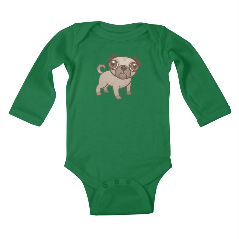 Pug Puppy Cartoon Kids Baby Longsleeve Bodysuit by Fizzgig's Artist Shop