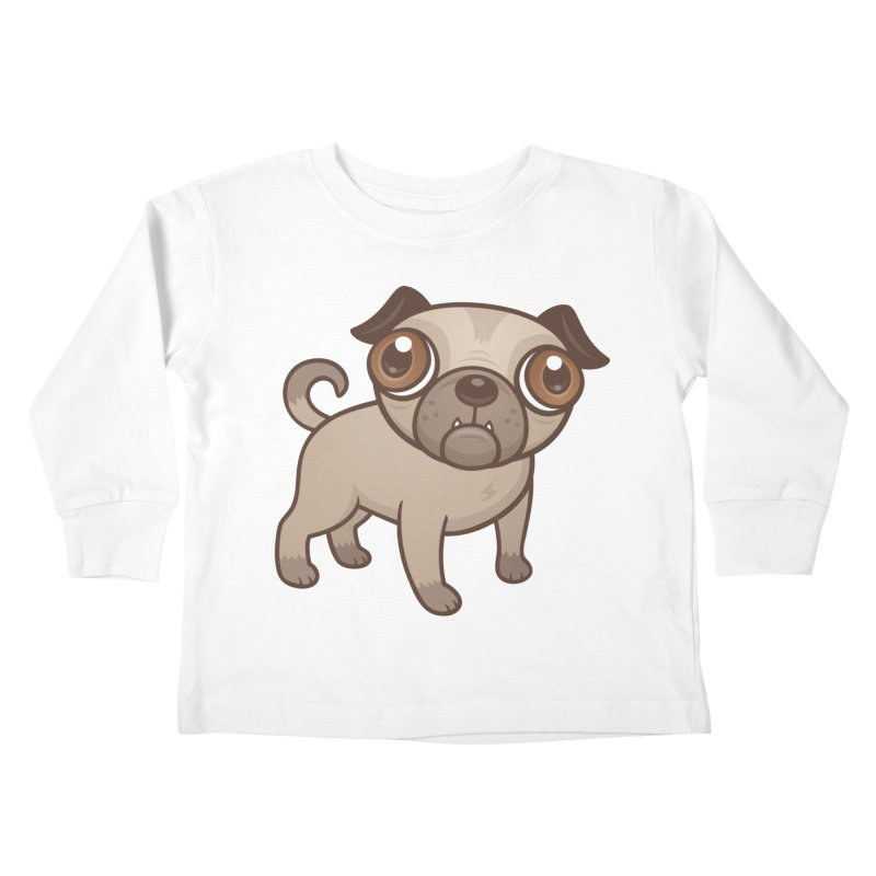 Pug Puppy Cartoon Kids Toddler Longsleeve T-Shirt by Fizzgig's Artist Shop