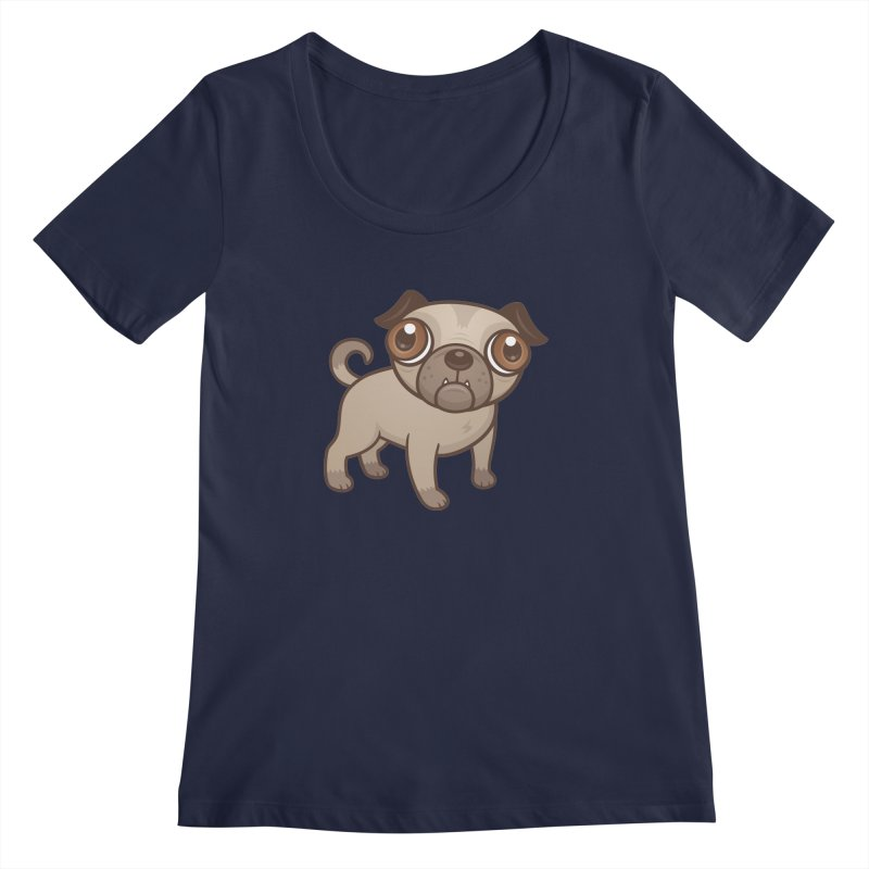 Pug Puppy Cartoon Women's Scoopneck by Fizzgig's Artist Shop