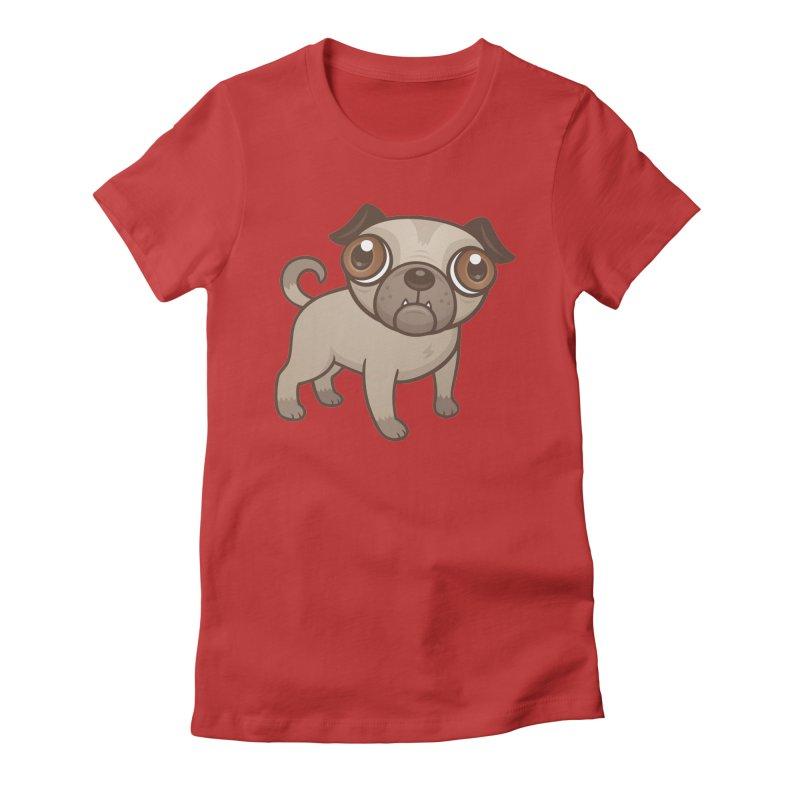 Pug Puppy Cartoon Women's Fitted T-Shirt by Fizzgig's Artist Shop