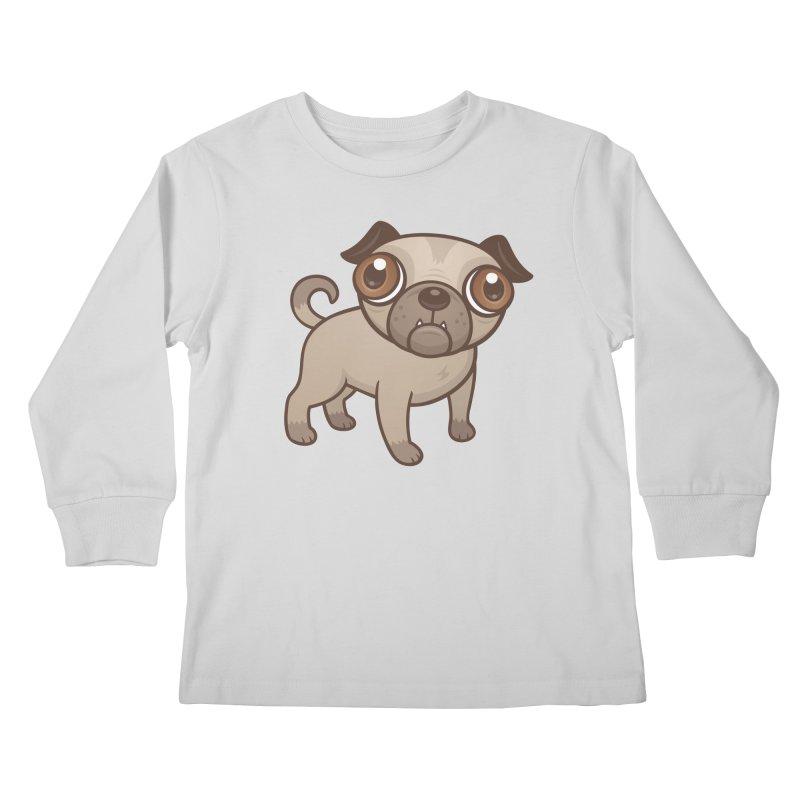 Pug Puppy Cartoon Kids Longsleeve T-Shirt by Fizzgig's Artist Shop