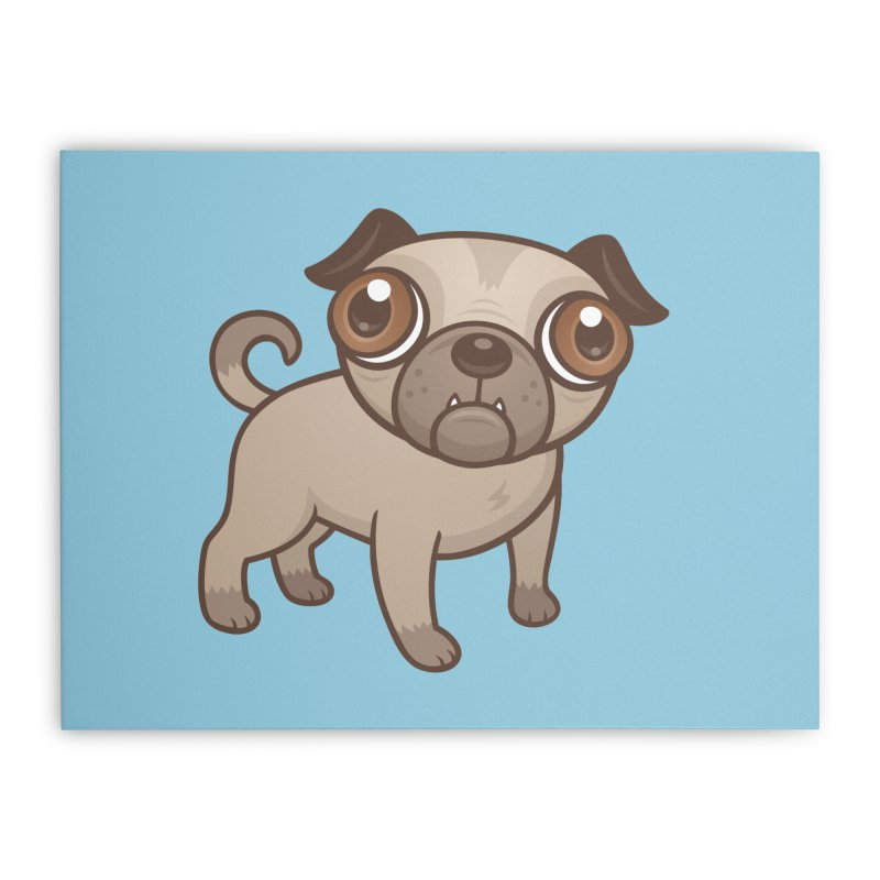 Pug Puppy Cartoon Home Stretched Canvas by Fizzgig's Artist Shop