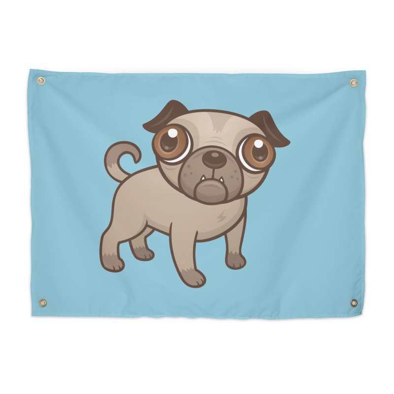 Pug Puppy Cartoon Home Tapestry by Fizzgig's Artist Shop