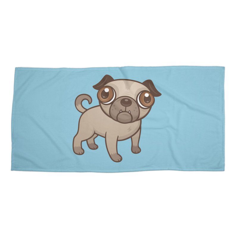 Pug Puppy Cartoon Accessories Beach Towel by Fizzgig's Artist Shop