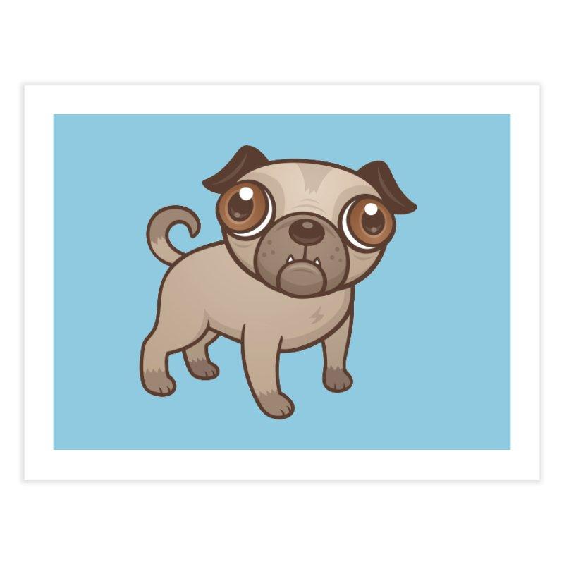 Pug Puppy Cartoon Home Fine Art Print by Fizzgig's Artist Shop