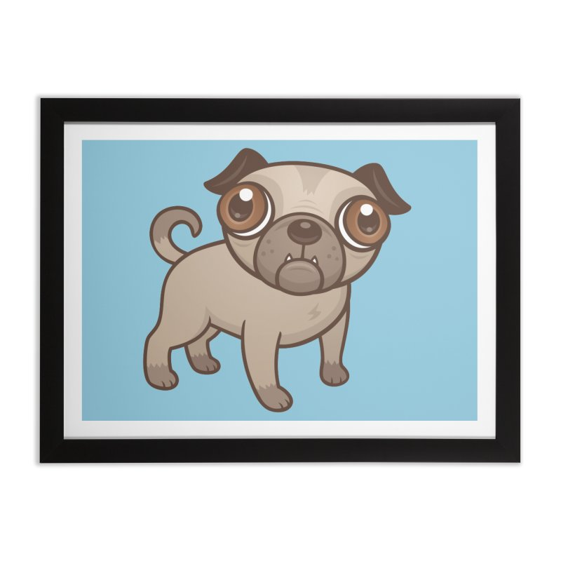 Pug Puppy Cartoon Home Framed Fine Art Print by Fizzgig's Artist Shop