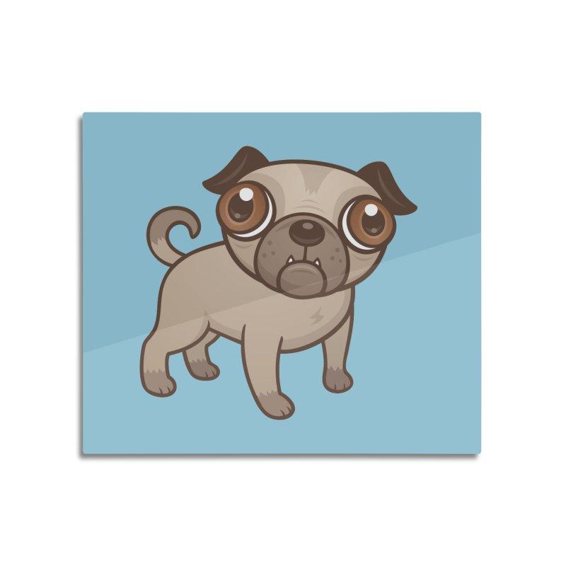 Pug Puppy Cartoon Home Mounted Aluminum Print by Fizzgig's Artist Shop