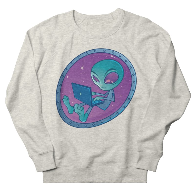Alien with Laptop Computer Women's Sweatshirt by Fizzgig's Artist Shop