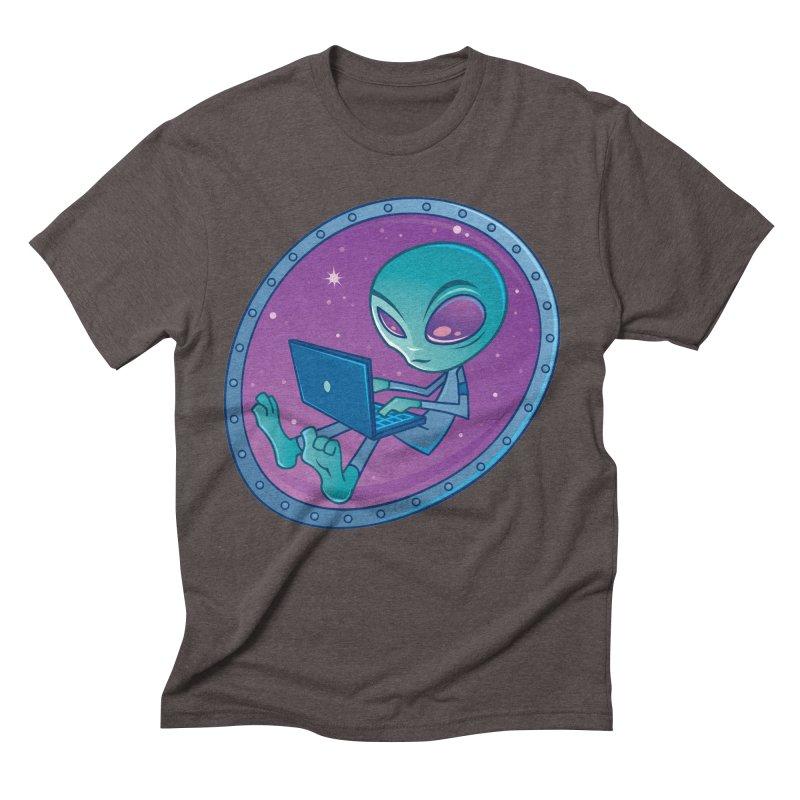 Alien with Laptop Computer Men's Triblend T-Shirt by Fizzgig's Artist Shop