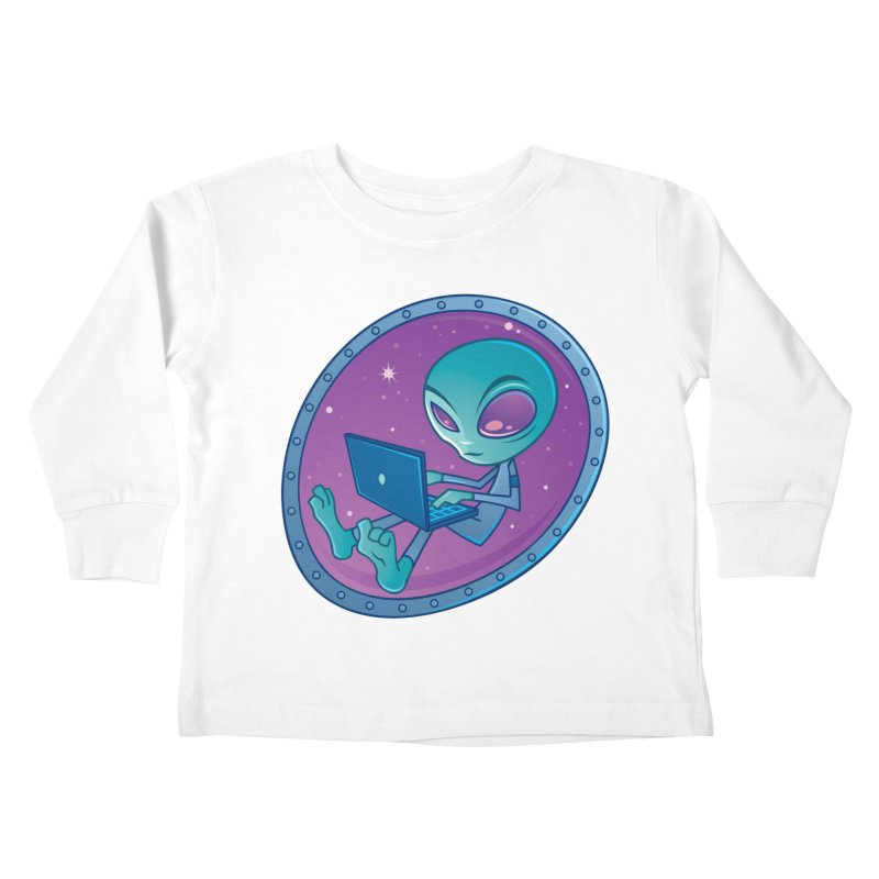 Alien with Laptop Computer Kids Toddler Longsleeve T-Shirt by Fizzgig's Artist Shop