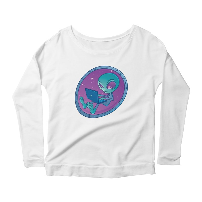 Alien with Laptop Computer Women's Longsleeve Scoopneck  by Fizzgig's Artist Shop
