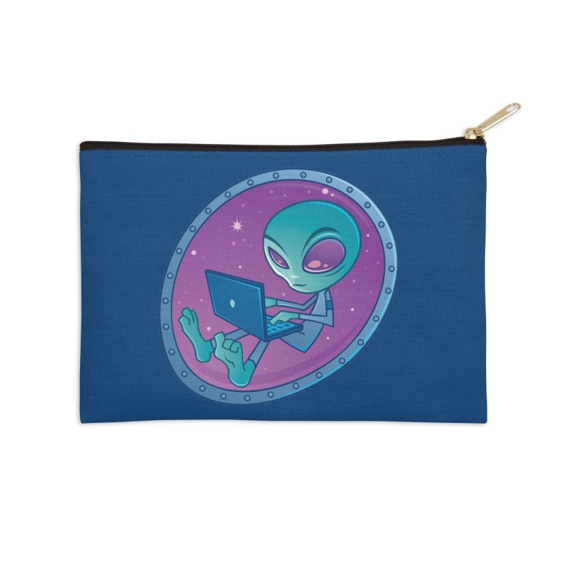 Alien with Laptop Computer Accessories Zip Pouch by Fizzgig's Artist Shop