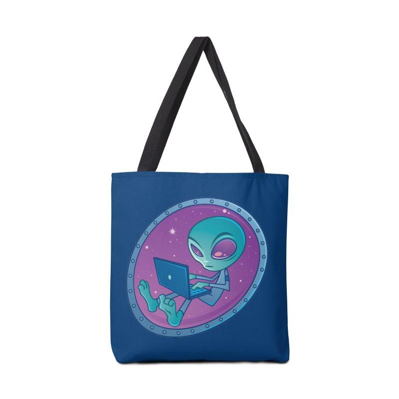 Alien with Laptop Computer Accessories Bag by Fizzgig's Artist Shop