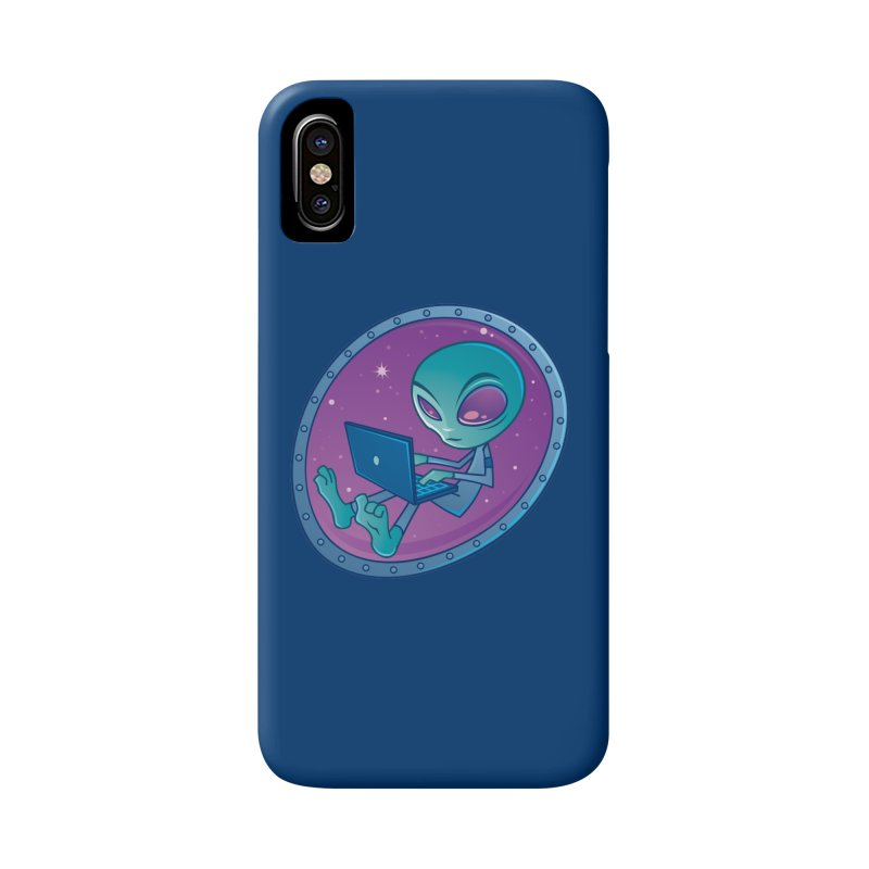 Alien with Laptop Computer Accessories Phone Case by Fizzgig's Artist Shop