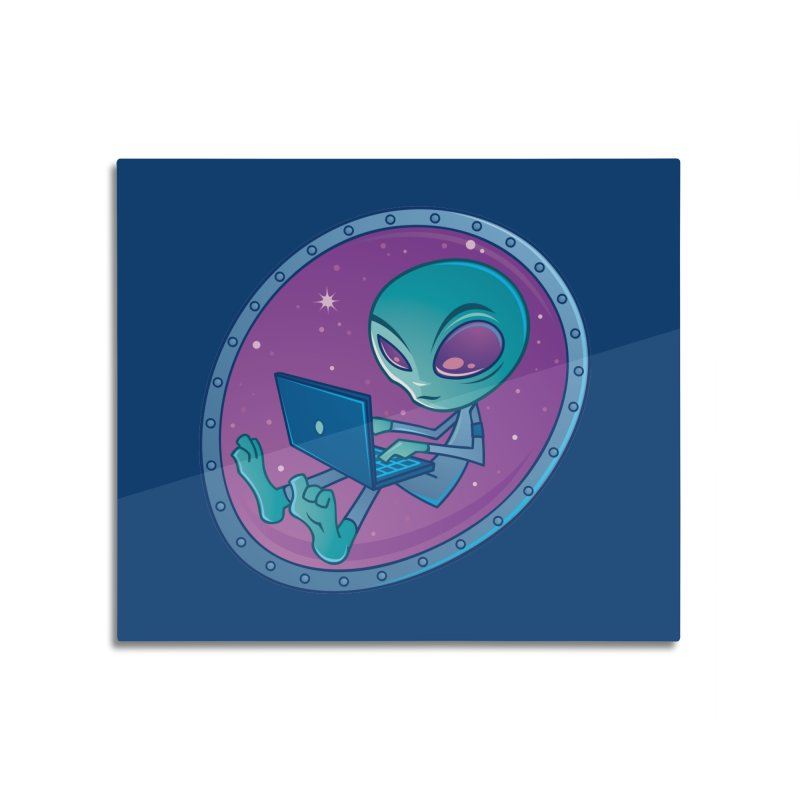 Alien with Laptop Computer Home Mounted Aluminum Print by Fizzgig's Artist Shop