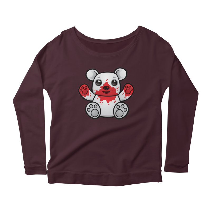 Polar Bear Cub First Kill Women's Longsleeve Scoopneck  by Fizzgig's Artist Shop