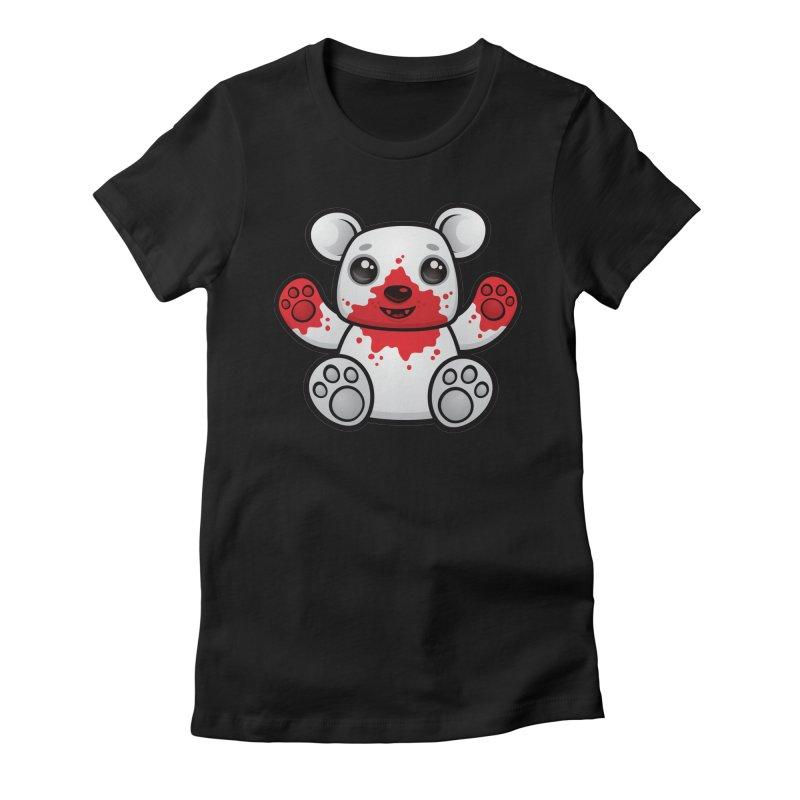 Polar Bear Cub First Kill Women's Fitted T-Shirt by Fizzgig's Artist Shop