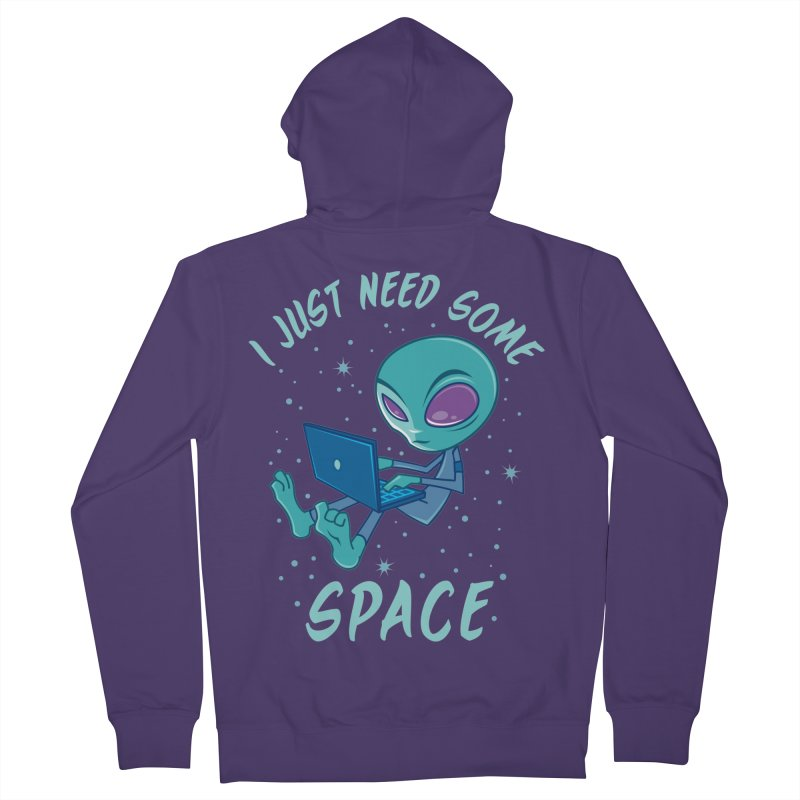 I Just Need Some Space Alien with Laptop Women's Zip-Up Hoody by Fizzgig's Artist Shop