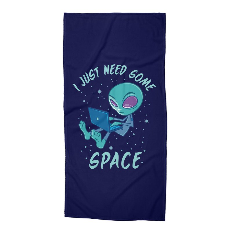 I Just Need Some Space Alien with Laptop Accessories Beach Towel by Fizzgig's Artist Shop