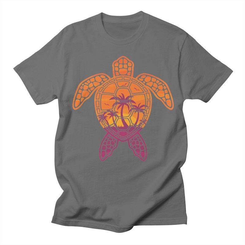 Tropical Sunset Sea Turtle Design Men's T-Shirt by Fizzgig's Artist Shop