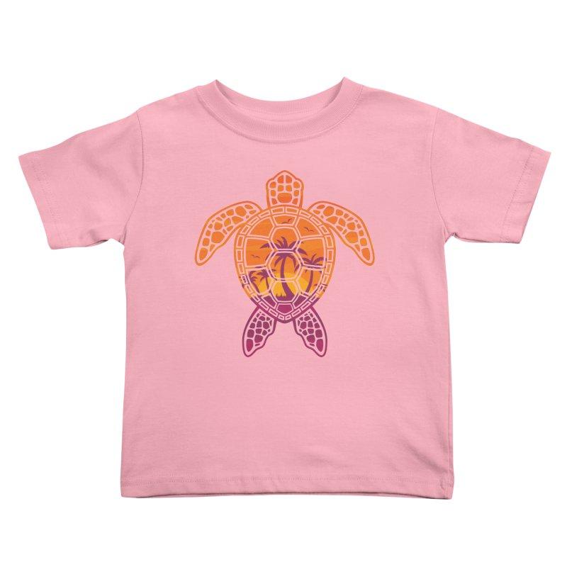 Tropical Sunset Sea Turtle Design Kids Toddler T-Shirt by Fizzgig's Artist Shop