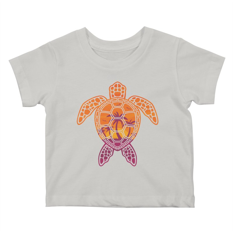 Tropical Sunset Sea Turtle Design Kids Baby T-Shirt by Fizzgig's Artist Shop