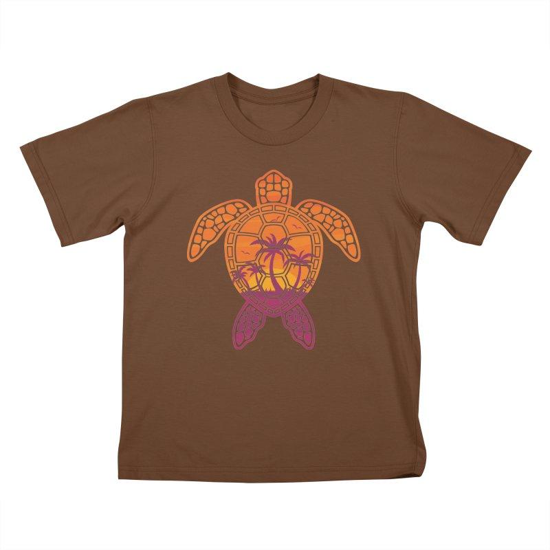 Tropical Sunset Sea Turtle Design Kids T-Shirt by Fizzgig's Artist Shop