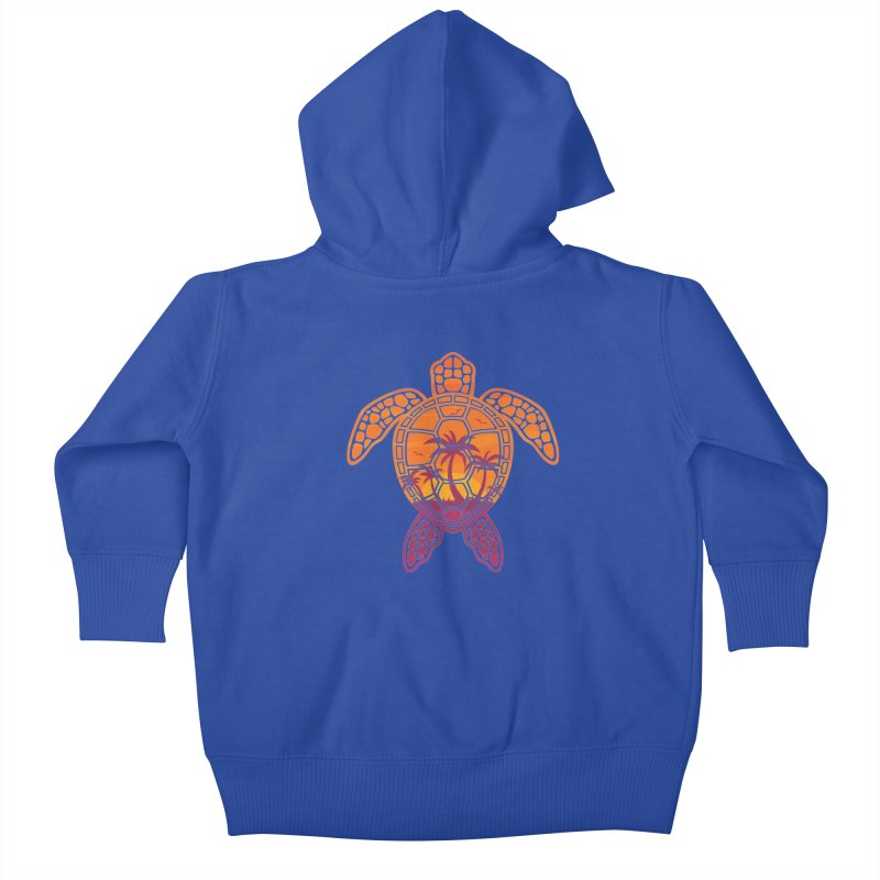 Tropical Sunset Sea Turtle Design Kids Baby Zip-Up Hoody by Fizzgig's Artist Shop