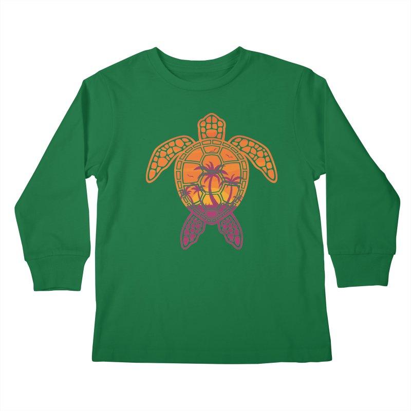 Tropical Sunset Sea Turtle Design Kids Longsleeve T-Shirt by Fizzgig's Artist Shop