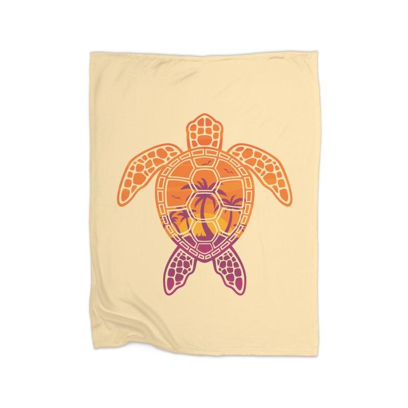 Tropical Sunset Sea Turtle Design Home Blanket by Fizzgig's Artist Shop