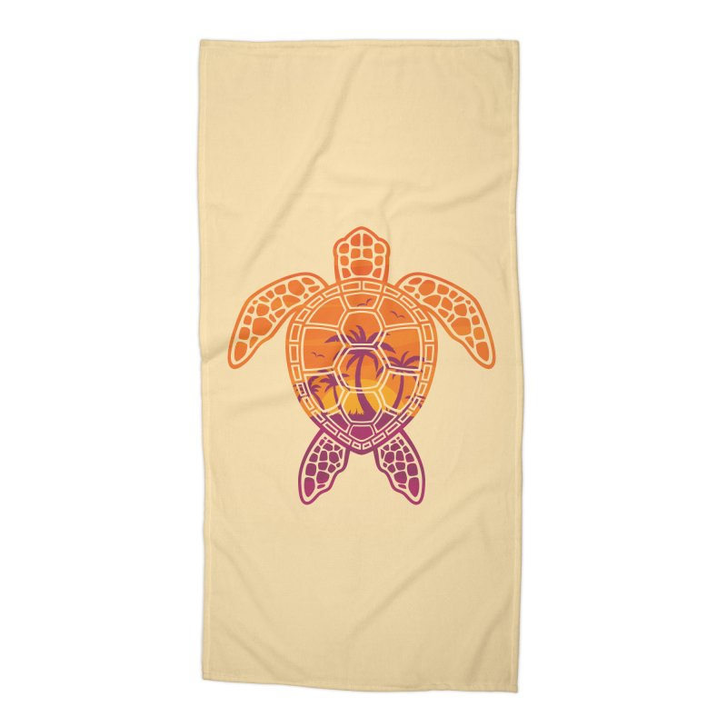 Tropical Sunset Sea Turtle Design Accessories Beach Towel by Fizzgig's Artist Shop