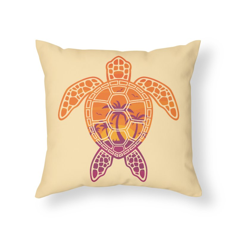 Tropical Sunset Sea Turtle Design Home Throw Pillow by Fizzgig's Artist Shop