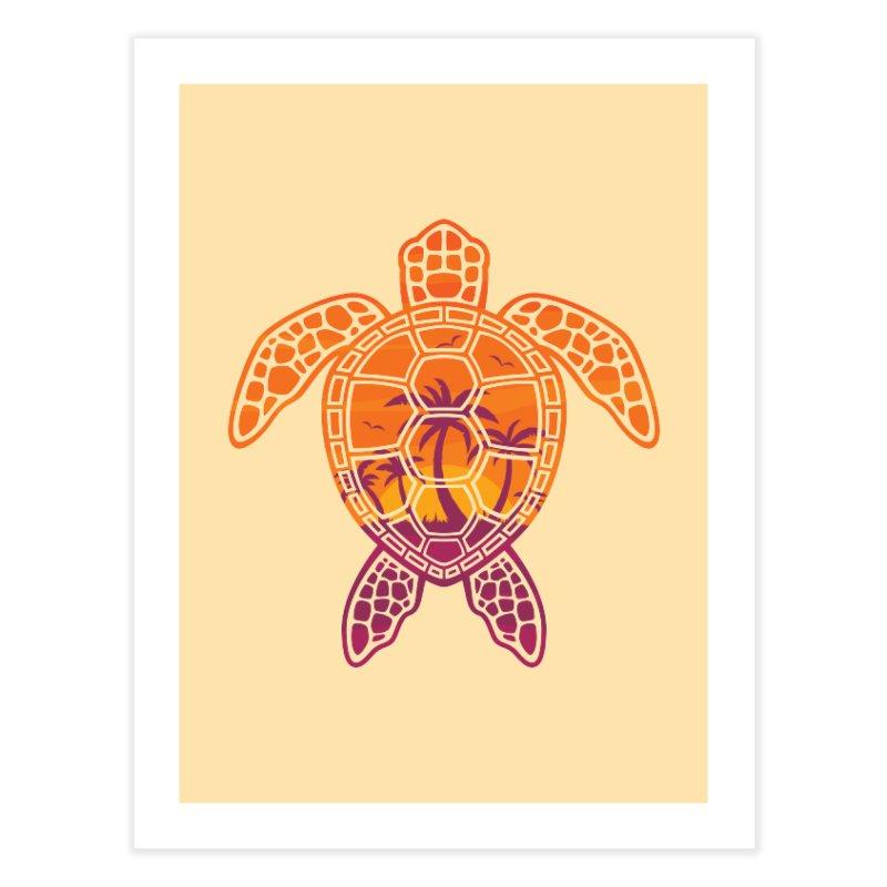 Tropical Sunset Sea Turtle Design Home Fine Art Print by Fizzgig's Artist Shop