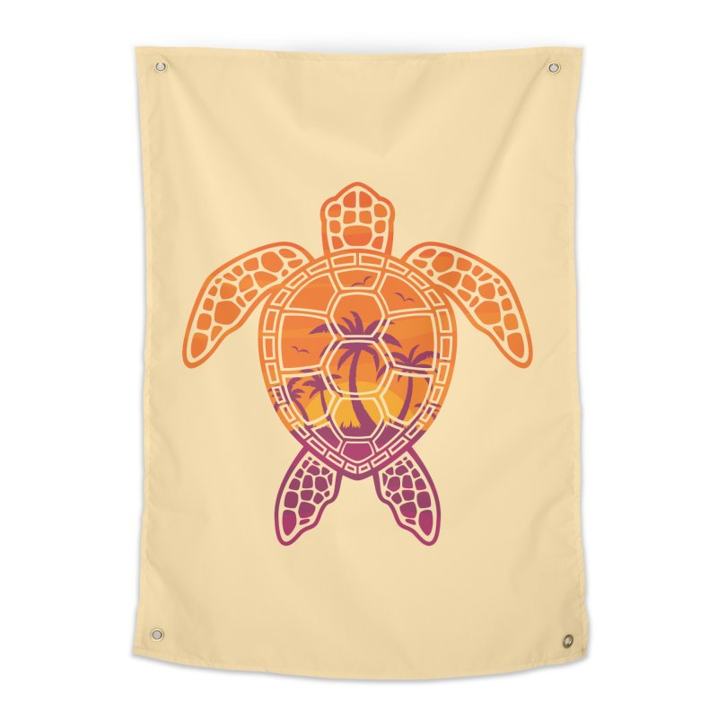 Tropical Sunset Sea Turtle Design Home Tapestry by Fizzgig's Artist Shop