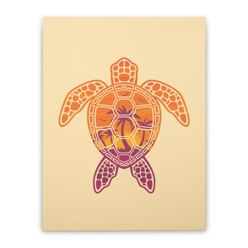 Tropical Sunset Sea Turtle Design Home Stretched Canvas by Fizzgig's Artist Shop