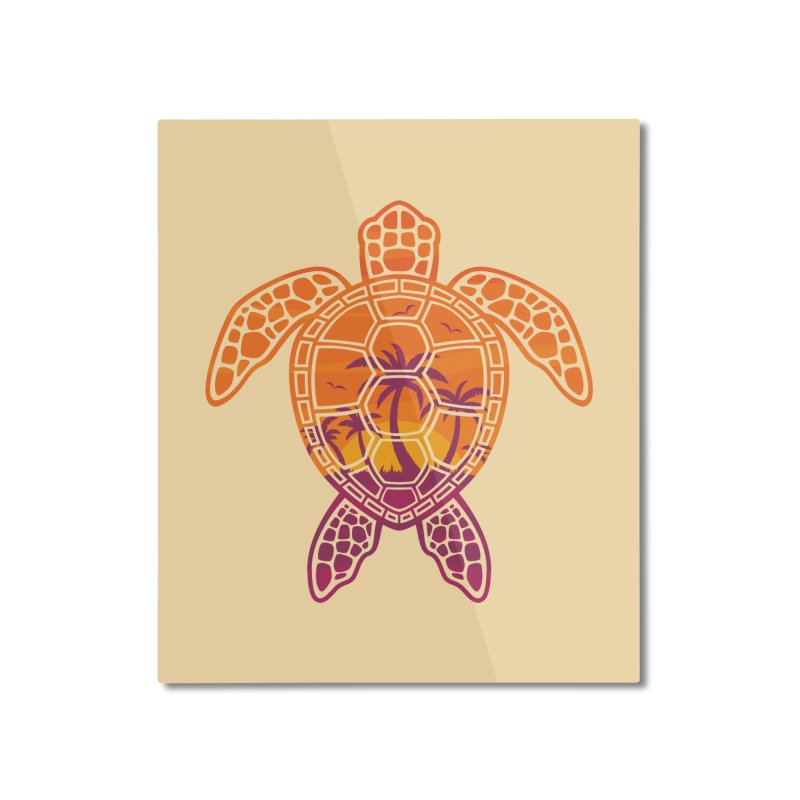 Tropical Sunset Sea Turtle Design Home Mounted Aluminum Print by Fizzgig's Artist Shop