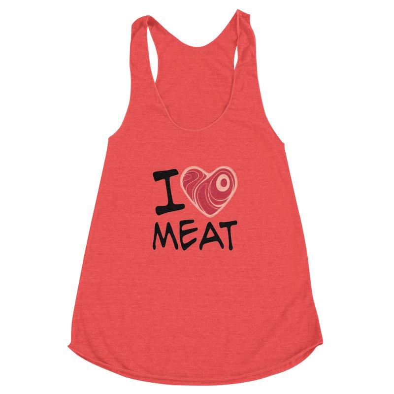 I Love Meat Women's Racerback Triblend Tank by Fizzgig's Artist Shop