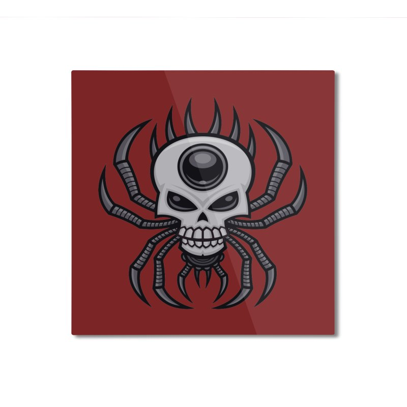 Skull Spider Home Mounted Aluminum Print by Fizzgig's Artist Shop
