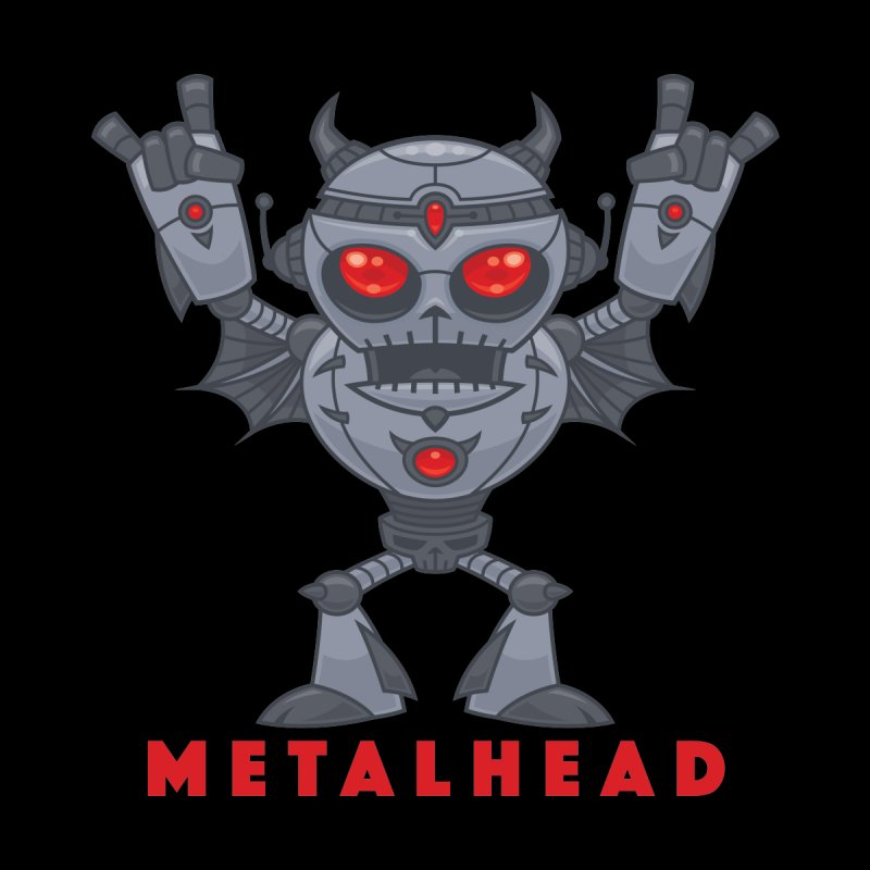 Metalhead - Heavy Metal Robot Devil - With Text Men's T-Shirt by Fizzgig's Artist Shop