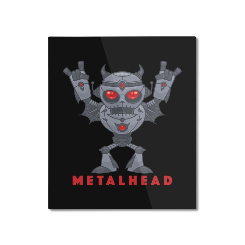 Metalhead - Heavy Metal Robot Devil - With Text Home Mounted Aluminum Print by Fizzgig's Artist Shop