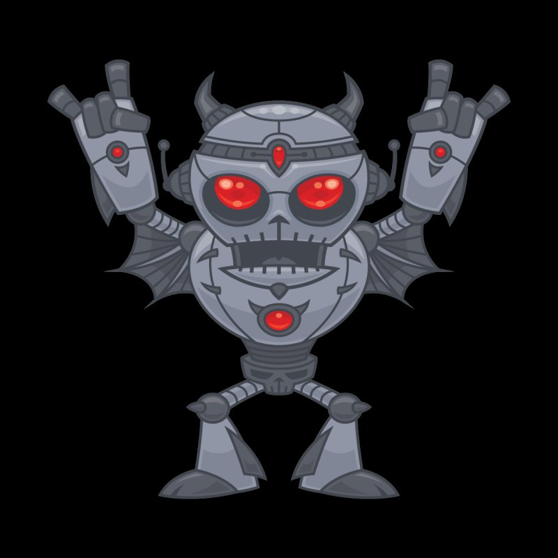 Metalhead - Heavy Metal Robot Devil Men's T-Shirt by Fizzgig's Artist Shop