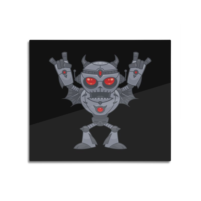 Metalhead - Heavy Metal Robot Devil Home Mounted Aluminum Print by Fizzgig's Artist Shop