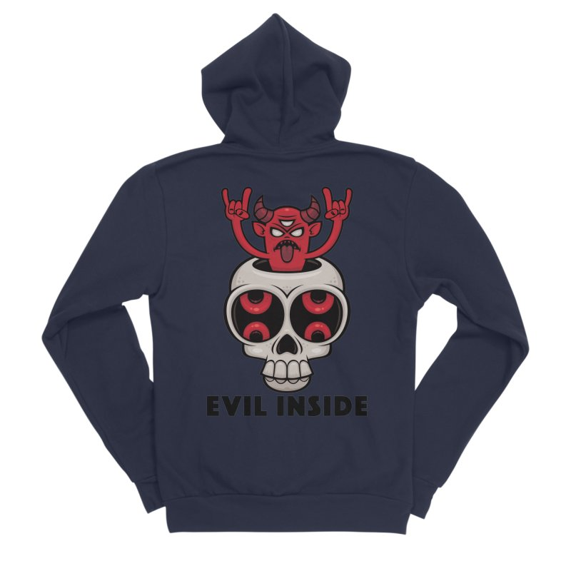 Possessed Skull Evil Inside Men's Sponge Fleece Zip-Up Hoody by Fizzgig's Artist Shop