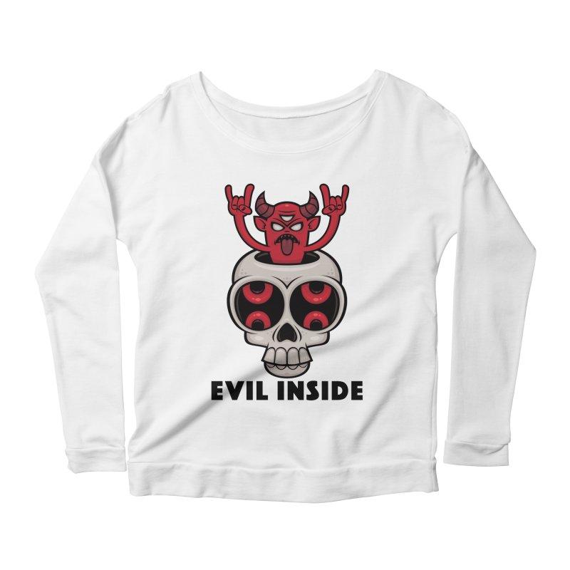 Possessed Skull Evil Inside Women's Scoop Neck Longsleeve T-Shirt by Fizzgig's Artist Shop