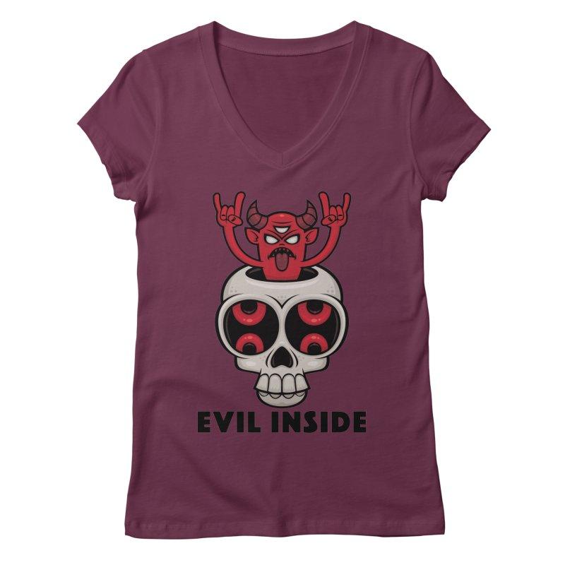 Possessed Skull Evil Inside Women's Regular V-Neck by Fizzgig's Artist Shop