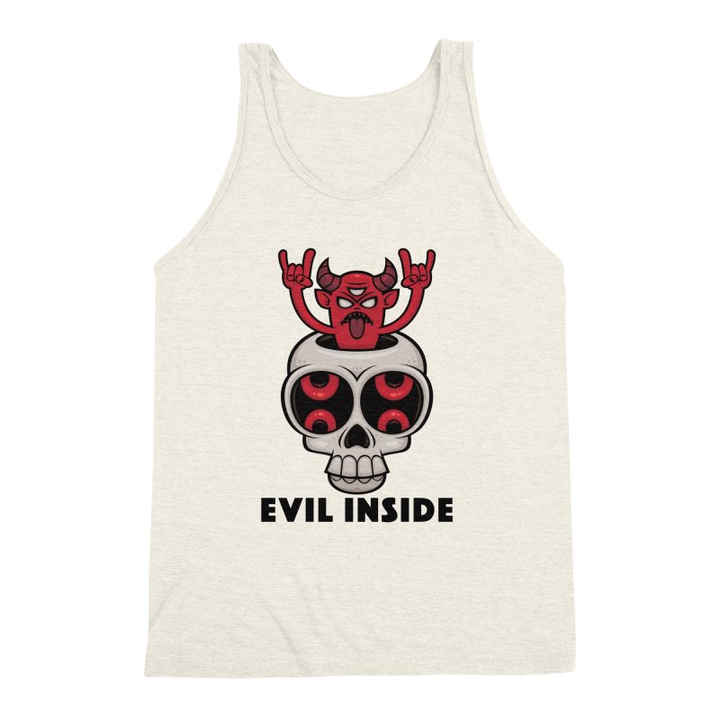 Possessed Skull Evil Inside Men's Triblend Tank by Fizzgig's Artist Shop